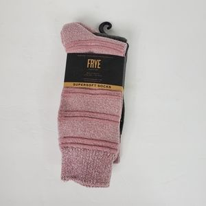 FRYE supersoft 2 pack boot socks NWT gray/pink